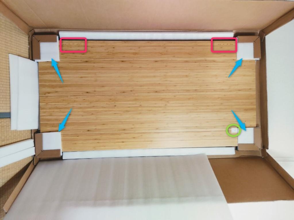 FlEXISPOT E8 Bamboo 梱包 天板